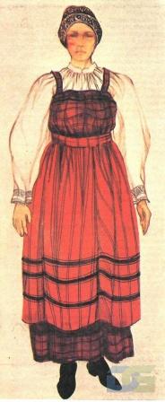 Архангельский костюм с пестрядинным сарафаном