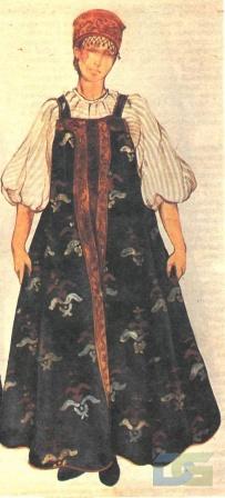 Вологодский костюм с шелковым сарафаном
