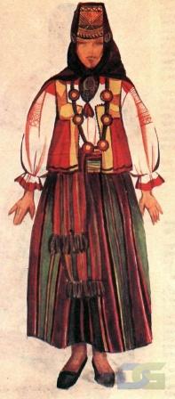 Воронежский костюм с юбкой в полоску.