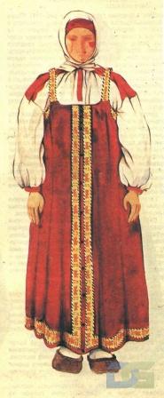 Московский костюм с красным сарафаном.